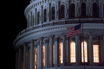 Fototapete - dc capitol at night in washington usa
