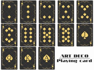 Playing cards spade suit. Poker cards original design art deco style. Vector illustration