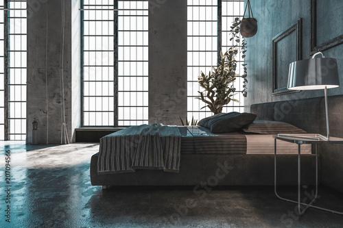 Großes modernes Schlafzimmer in Loft\