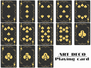 Playing cards club suit. Poker cards original design art deco style. Vector illustration