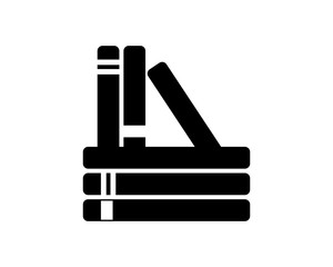 silhouette book novel author bookstore knowledge encyclopedia document image vector icon logo