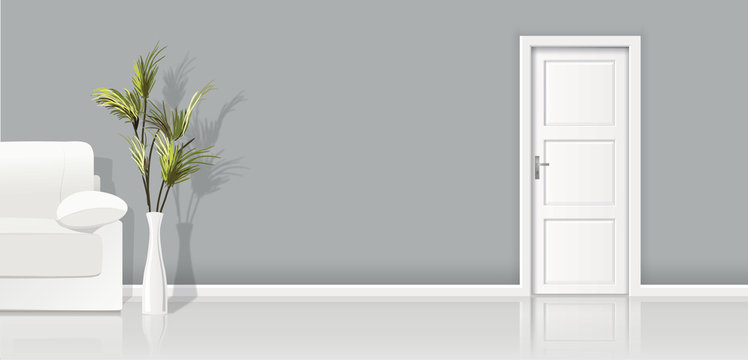 Element of architecture - vector background grey wall, sofa  and closed white door