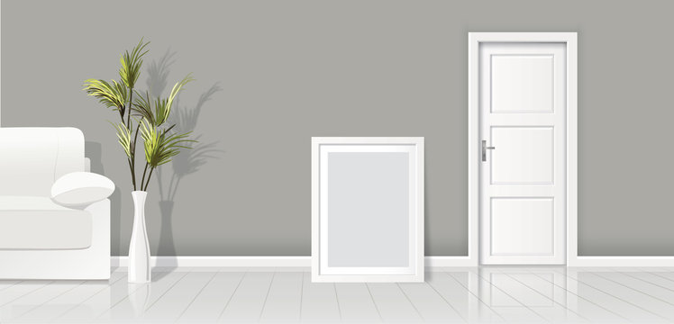 Element of architecture - vector background grey wall width closed white door and frame for picture