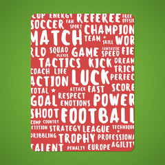 Red Card Or Background With Soccer / Football Theme Words.