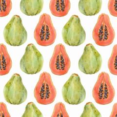 Watercolor papaya vector pattern