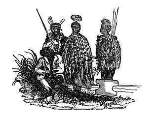 Queen of Kuruman (Neu-Lattaku); at right from her two bushmen, at right - queen's soldier(from Das Heller-Magazin, February 22, 1834)