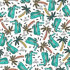 Cute vector pattern with cartoon crocodiles. Summer background.