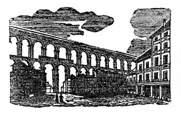 Roman aqueduct (from Das Heller-Magazin, February 22, 1834)