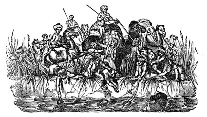 The caravan reaches the river (from Das Heller-Magazin, February 13, 1834)