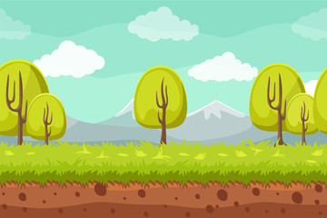Seamless landscape background. Cartoon horizontal background for games