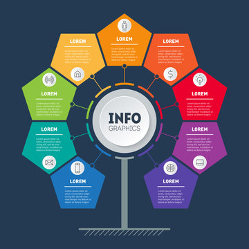 Business infographics concept with 9 options. Vector info graphic of technology or education process. Annual report. Web Template of a info chart, diagram or presentation. Part of the report.