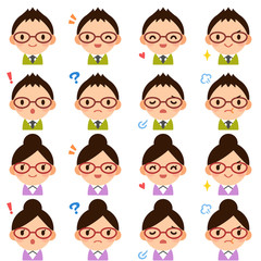 Isolated set of glasses young teacher man & woman flat style avatar expressions
