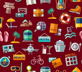 Travel, vacation, tourism, leisure, seamless pattern, colorful, dark red. Different types of holidays and ways of travelling. Vector, color background. Colored flat drawings on a dark red field.