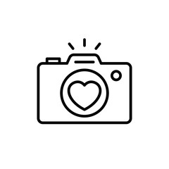 wedding party camera photography documentation icon. camera with love lens illustration for wedding concept design. simple clean monoline symbol.