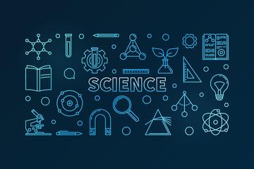 Science vector outline blue horizontal illustration