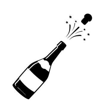 Champagne icon. Black silhouette of a champagne bottle. Iconography. Vector