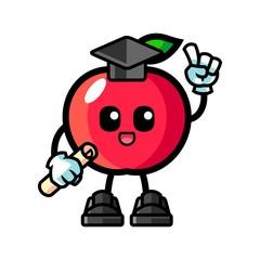Apple graduation mascot cartoon illustration