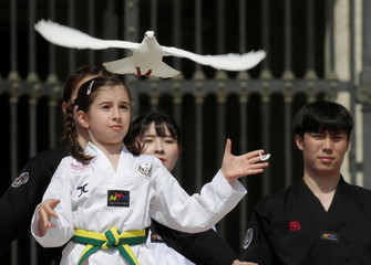 A Taekwondo athlete from Korea releases a dove after performing for Pope Francis during the Wednesday general audience in Saint Peter's square at the Vatican