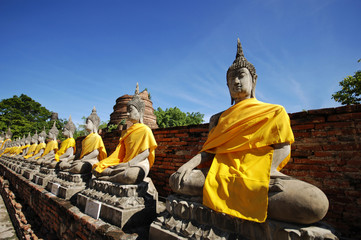 Old Buddha statue in temple at Ayutthaya