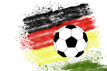 german football illustration with flag and ball