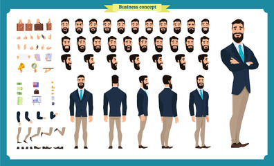People character business set. Front, side, back view animated character. Businessman character creation set with various views, face emotions, poses and gestures. flat isolated vector