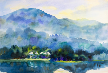 Painting  landscape colorful of mountain,lagoons and home in morning