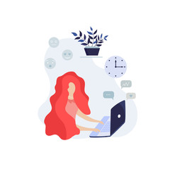 Flat girl. Business illustration.Business woman at work. Office worker woman behind the a work desk. Vector illustration of a flat design.