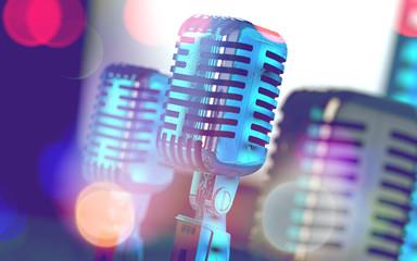 Micrófonos vintage y luces de escenario.Concepto de radio y karaoke. Entretenimiento y eventos musicales