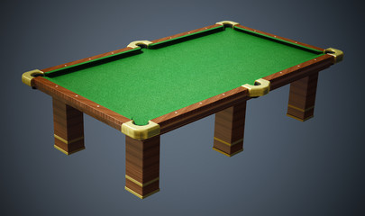 Pool table with green cloth on gray background. 3D illustration