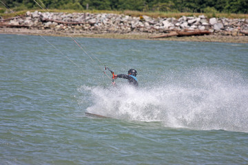 kitesurfer riding toeside