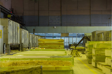 Warehouse of manufactured glass, glass billets, control room