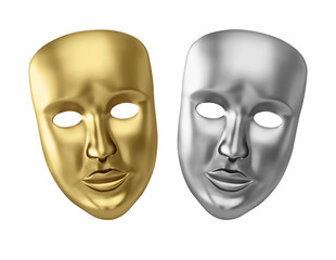 Golden and silver theatrical masks