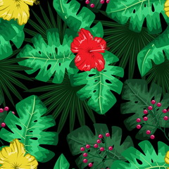 Exotic tropical nature environment repeating pattern background.