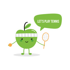Cute fitness green apple character asking to play tennis, holding in hands tennis ball and tennis racket.
