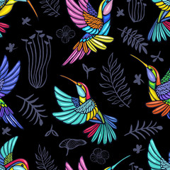 Embroidery patch seamless pattern Hummingbird, palm tree leaves, flowers tropical art. Fashionable embroidery tropical summer background. Template design clothes, t shirt. Hand drawn vector.