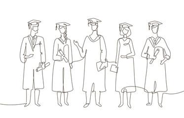 Graduating students - one line design style illustration
