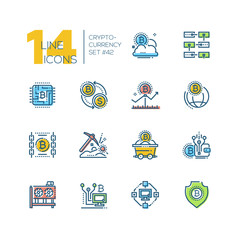 Cryptocurrency - set of line design style icons