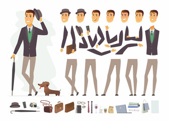 Stylish man - vector cartoon people character constructor