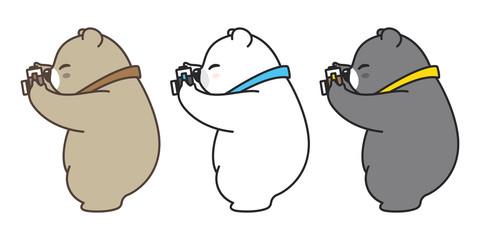 bear vector logo icon polar bear character cartoon panda illustration camera doodle