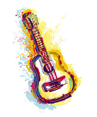 Guitar with grunge watercolor splashes. Isolated object on white background. Design concept for card, t-shirt, invitation, print, poster, tattoo. Vector illustration