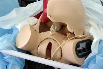 Simulation mannequin for childbirth during training for obstetricians.