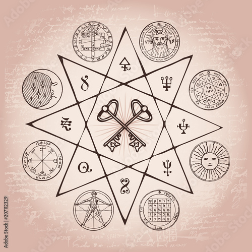 Vector Banner On The Theme Of Mysticism Magic Religion And The