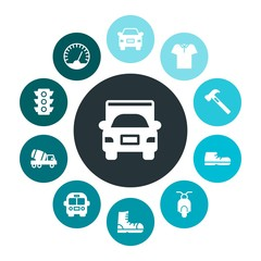 transports, industry, clothes Infographic Colorful fill Icons Set. Contains such Icons as traffic,  polo, fashion,  motorbike,  bike,  stop,  footwear, school and more. Fully Editable. Pixel Perfect