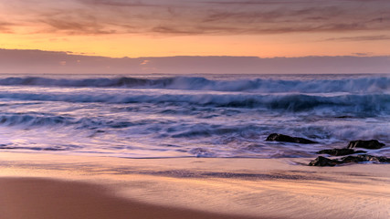 Dawn Seascape with Waves