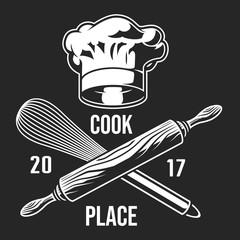 Vintage monochrome cooking label
