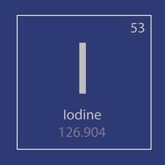 Iodine I chemical element icon- vector illustration
