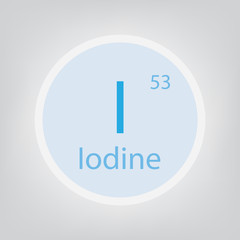 Iodine I chemical element icon- vector illustration