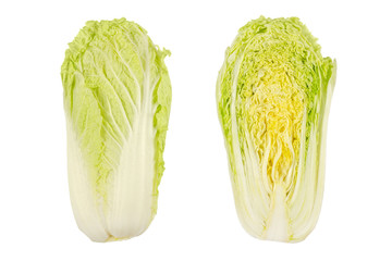 Napa cabbage, whole and half, Chinese cabbage, top view. Nappa. Wombok. Raw, fresh, uncooked, green vegetable. Brassica rapa Perkinensis Group. Macro food photo close up, isolated on white background