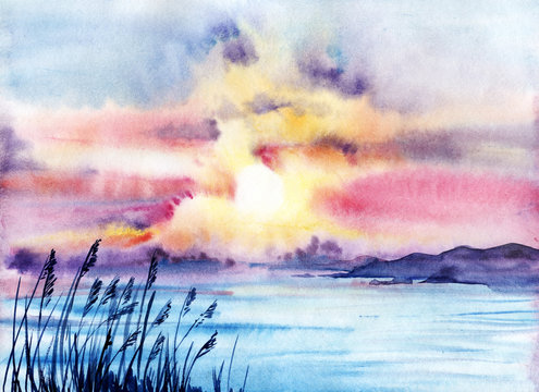 Sunset on the seashore. Long silhouettes of mountains. Rumble bullets on the background of the sea. Sea mountains sky. Hand drawn watercolor on wet paper illustration.