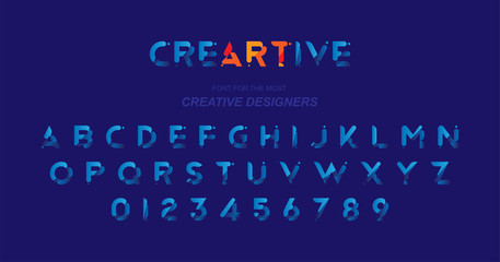 Original font in blue colour for creative design template. Flat illustration EPS10